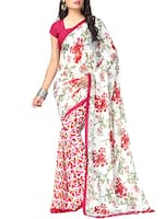 white chiffon printed saree -  online shopping for Sarees