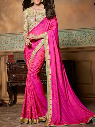 pink silk printed saree
