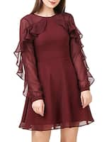 Solid maroon georgette dress -  online shopping for Dresses