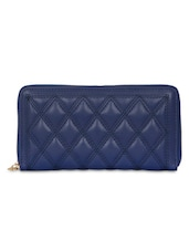 Navy Blue Textured Zippered Wallet - By