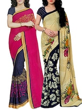 multi colored faux georgette printed combos saree -  online shopping for Sarees
