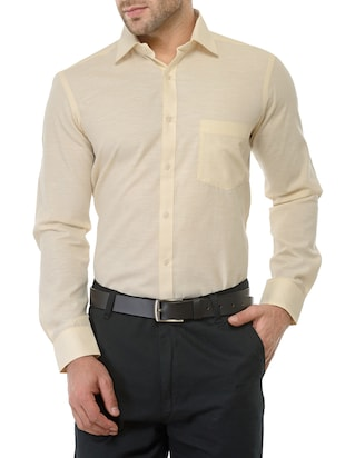 yellow cotton formal shirt