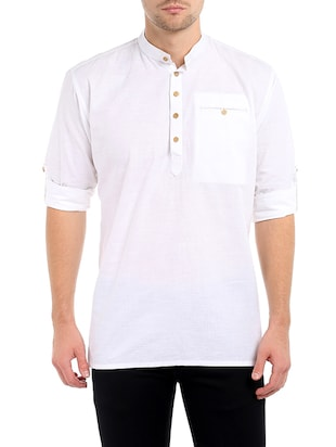 solid white cotton kurta