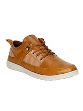 tan leatherette lace up shoe -  online shopping for Shoes