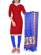 Red And Blue Unstitched Suit Set - By