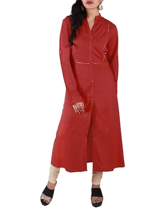 Red front slit rayon kurta -  online shopping for kurtas