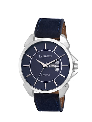 Laurels Large Size Invictus 8 Analog Blue Dail Men's Watch With Additional Strap ( Lo-Inc-803s)