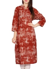 Brown Cotton Printed Straight Kurta - By
