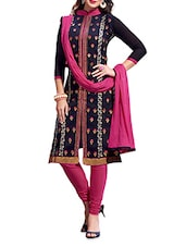 Navy Blue Chanderi Embroidered Unstitched Suit Set - By