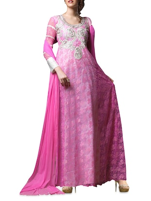 Pink Net Long Gown