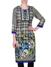 Black And Blue Viscose Blend Printed Kurti - By