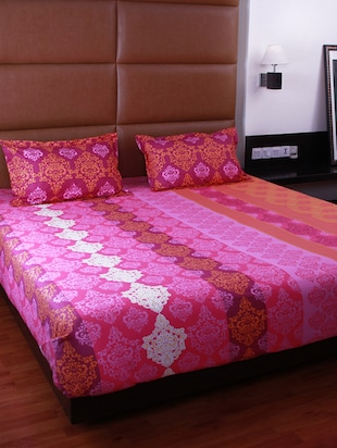 Bombay Dyeing Cotton Pink Ethnic Print Double bed sheet