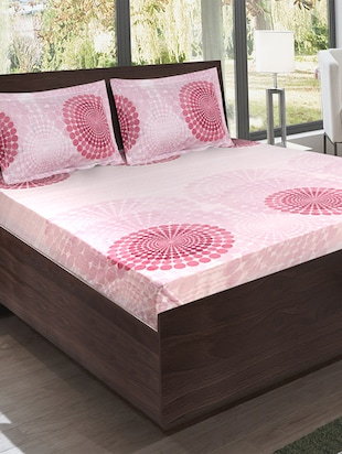Bombay Dyeing Cotton Pink Ethnic Print California king bed sheet