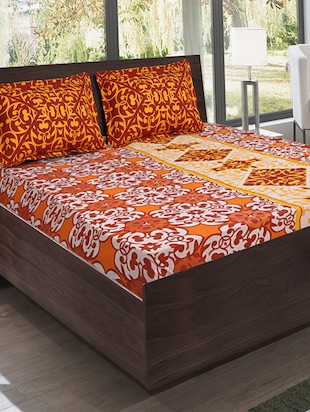 Bombay Dyeing Cotton Multicolor Ethnic Print California king bed sheet