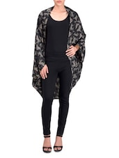 Black And Grey Poly Crepe Printed Shrug - By