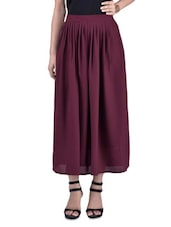 Purple Polyester Flared Skirt - By