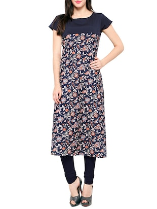 blue crepe printed  straight kurta