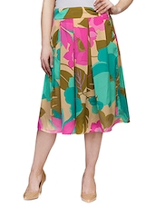 multicolored printed pleated skirt -  online shopping for Skirts