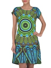 Green And Blue Printed Cotton Dress - By