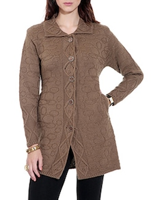 Brown Woolen Cardigan with Pockets