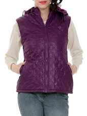 Purple Hooded Sleeveless Quilted Jacket - By