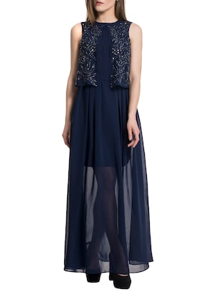 navy blue georgette maxi dress