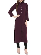 magenta crepe long kurta -  online shopping for kurtas