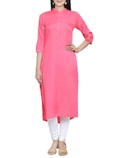 pink crepe straight kurta -  online shopping for kurtas