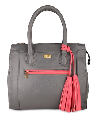 grey Textured tasseled leatherette handbag