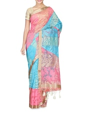 Pink And Blue Cotton Silk Printed Saree - By