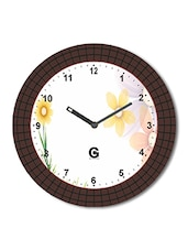Multicolored Plastic And Glass Floral Printed Floral Printed Wall Clock - By
