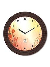 Multicolored Plastic And Glass Floral Printed Floral Printed Wall Clock - By - 1325818