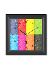 Multicolored Plastic And Glass Water Drops Printed Wall Clock - By