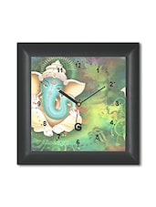 Multicolored Plastic And Glass Ganesha Designed Printed Wall Clock - By