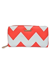 White And Red Chevron Printed Leatherette Wallet - By