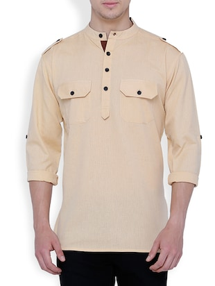 solid beige cotton pathani kurta