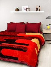 Red Printed Double Bed Mink Blanket - By