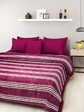 Red Printed Double Bed Blanket - By