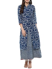 blue cotton block printed a-line kurta -  online shopping for kurtas