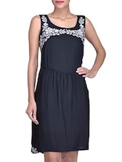 Black Rayon Dress With Floral Printed Neck - By