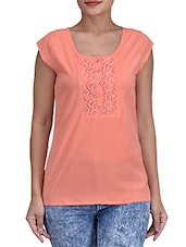 Peach Poly Crepe Top With Lace Detail - By
