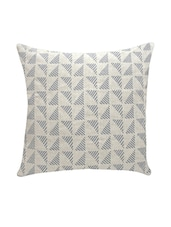 Ambbi Collection Printed Linen Cushion Cover With Right Angle Triangles With Lines - By
