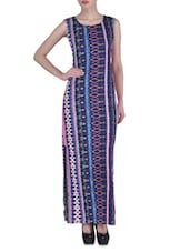 Blue Georgette Geometric Printed Maxi Dress - By