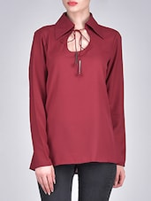 Maroon Georgette Top With Drawstring Bow Neck - By