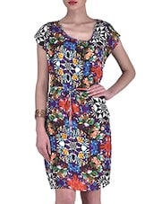 Multicolored Rayon Floral Print Dress - By
