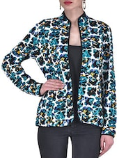 Multicolored Knitted Polyester Printed Winter Jacket - By