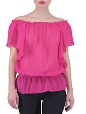 Solid Pink Georgette Top - By