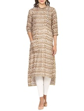 Brown Rayon Highlow Kurta - By