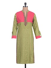 Green Polka-dot Printed Cotton Kurta - By