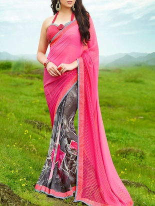 pink & grey georgette half and half  printed saree
